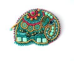 Elephant brooch Turquoise brooch Turquoise elephant by ibics