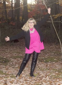 Banana Republic Wool Moto iwith H&M Leather leggings, Shoe Dazzle OTK Boots and a fuschia Tunic from New Chic, paired with 7 Charming Sisters Byte Me Necklace #tunicsandleggingsforwomen