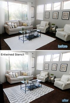 Lindsay from BetterAfter transformed her area rug with the Entwined Allover Stencil from Cutting Edge Stencil and some paint. Simple!