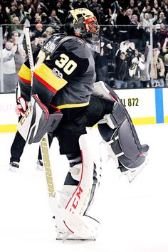 Malcolm Subban celebrates after defeating the Anaheim Ducks in a shootout Marc Andre, Vegas Golden Knights, Anaheim Ducks, Misfits, Nhl, Motorcycle Jacket, Hockey, Michigan