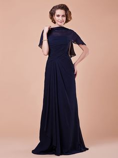 171525badf2 A-Line Strapless   Bateau Neck Floor Length Chiffon Mother of the Bride  Dress with Side Draping   Criss Cross by LAN TING BRIDE®   Wrap Included