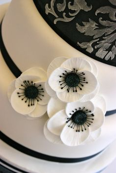 Black & White Anemone Flowers by ConsumedbyCake, via Flickr