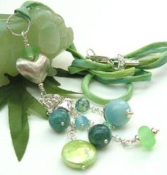 Green Gemstone Necklace Multi Gemstone