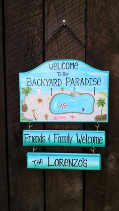 This Custom Welcome to our Backyard Paradise Pool Sign Backyard Home Yard Beach Summer Campfire Personalized Signs with your Name is just one of the custom, handmade pieces you'll find in our home décor shops. Backyard Signs, Backyard Beach, Patio Signs, Backyard Pool Landscaping, Backyard Pergola, Garden Signs, Beach Pool, Paradise Pools, Backyard Paradise