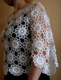 My favorite blouse motives.Crochet sweater with circle motif Crochet Jacket, Crochet Cardigan, Crochet Shawl, Hand Crochet, Knit Crochet, Crochet Flower Patterns, Crochet Flowers, Poncho Knitting Patterns, Crochet Clothes