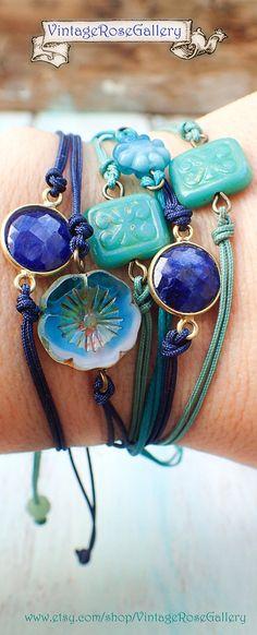Lapis #VintageRoseGallery #etsy Lazuli Bracelet, Lapis Boho Chic Bracelet, Golden plated sterling silver by VintageRoseGallery