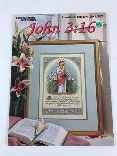JOHN 3:16 CROSS STITCH PATTERN, religious cross stitch, counted cross stitch #LeisureArts