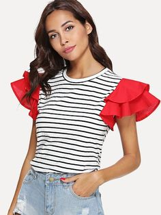 Casual Striped and Colorblock Regular Fit Round Neck Short Sleeve Butterfly Sleeve Pullovers Black and White Regular Length Contrast Layered Sleeve Striped Tee Diy Fashion, Fashion Outfits, Fashion Tips, Cream T Shirts, Mode Hijab, Haute Couture Fashion, Striped Tee, Refashion, Diy Clothes