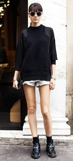 ★R★ L❤ves amazing sweater  + cool sunglasses + denim short + men's watch + rocker shoes = absolutely perfect