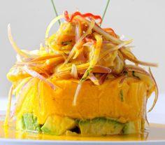 Causa rellena con salsa de aji amarillo....Peruvian Food