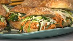 OMG these buffalo chicken sliders with gorgonzola slaw change the tailgate game!
