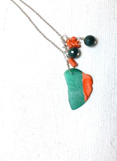 Sea Glass Necklace - Hand Painted Coral, Hunter Green Glass. via Etsy.