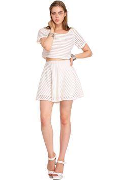 ROMWE Hollow Strip White Skirt