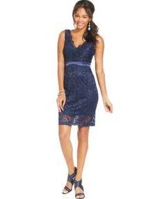 Teeze Me Juniors' Lace Sheath Dress - Navy
