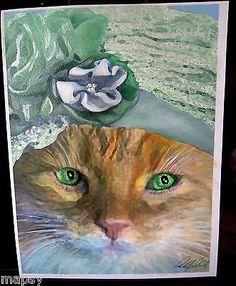 Irish Cat Feline Kitty Yellow Tabby in hat NFAC Avanti Original Painting 8x10