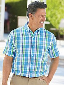 """""""I surprised my husband with this shirt. He REALLY likes it because it's so cool and light weight."""" ~ from Tennessee about our Scandia Woods Seersucker Shirt from Blair"""