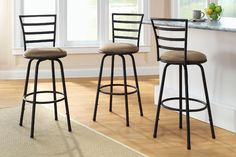 Swivel Bar Stools Set Of 3 Bar Height Kitchen Counter Dining Chair Barstool New