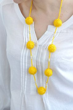 Yelow textile necklace wooden beads rustic summer by BallClub,by Tatiana Shalkova on Etsy Star Jewelry, Jewelry Crafts, Beaded Jewelry, Crystal Jewelry, Jewelry Art, Silver Jewelry, Diy Fabric Jewellery, Thread Jewellery, Fabric Necklace