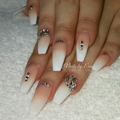 Nude fade and #Swarovski #crystalpixie mani by ...