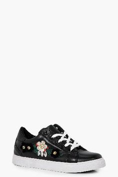 #boohoo Embellished Lace Up Trainer - black DZZ48486 #Charlotte Embellished Lace Up Trainer - black