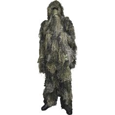 These Star Gear® Camouflage Ghillie Suits are a type of camouflage clothing designed to resemble the background in a woodlands green foliage environment. The suit gives the person wearing it an outline of a three-dimensional breakup, rather tha