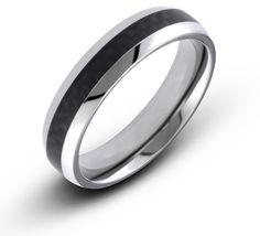7eda5574634d 6MM Men s Titanium Dome Ring Wedding Band With Black Carbon Fiber Inlay.  Anillo Compromiso Oro BlancoAnillos De CompromisoJoyasNegro ...