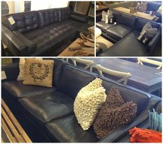 Cornerstone Furniture - black leather sofas and sectionals.