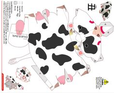 cow template 3d Paper Crafts, Paper Toys, Diy And Crafts, Arts And Crafts, Paper Cube, Ribbon Cards, Paper Animals, Idee Diy, Paper Folding