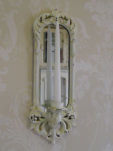 Set of 2 Shabby White Ornate Wall Sconces - Upcycled - Distressed - Cottage Chic - Candle Holder ...