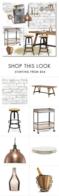 """""""industrial chic"""" by limass ❤ liked on Polyvore featuring interior, interiors, interior design, home, home decor, interior decorating, Brewster Home Fashions, Seletti, Incipit and Arteriors"""