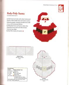 Santa pattern Works up easy.See the source image Plastic Canvas Coasters, Plastic Canvas Ornaments, Plastic Canvas Tissue Boxes, Plastic Canvas Crafts, Plastic Canvas Patterns, Picture Frame Ornaments, Plastic Canvas Christmas, Canvas Designs, Bead Crafts