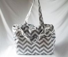 SALE - Large Chevron diaper bag with zippered closure  - Grey zig zag weekender -Made to Order on Etsy, $63.00