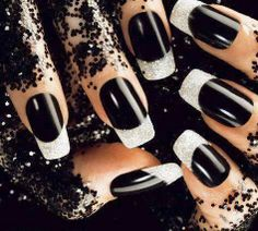 black and glitter french | See more nail designs at http://www.nailsss.com/acrylic-nails-ideas/2/