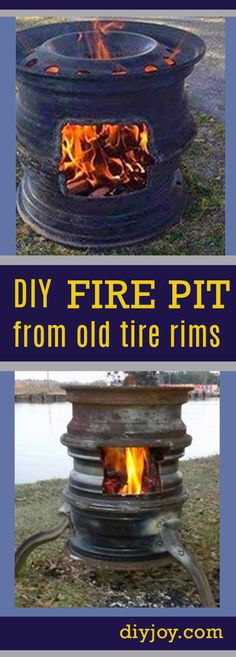 DIY Ideas for the Outdoors - Old Tire Rims Make For The Best DIY Fire Pits - Best Do It Yourself Ideas for Yard Projects, Camping, Patio and Spending Time in Garden and Outdoors - Step by Step Tutorials and Project Ideas for Backyard Fun, Cooking and Seating http://diyjoy.com/diy-ideas-outdoors