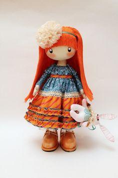 Doll Alice redhead orange and blue doll by DollsLittleAngels