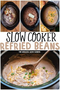 Slow Cooker Refried Beans are ultra creamy because of the entire stick of butter that is added! #refriedbeans #slowcooker #crockpot #pintobeans Healthy Slow Cooker, Slow Cooker Recipes, Crockpot Recipes, Cooking Recipes, Oven Recipes, Easy Recipes, Healthy Recipes, Refried Beans Slow Cooker, Beans In Crockpot