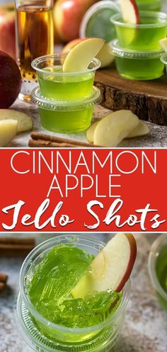 These fun, spicy Cinnamon Apple Jello Shots are a seasonal twist on a party favorite! Skip the vodka and opt for cinnamon whiskey paired with green apple gelatin for this crowd pleasing recipe! Malibu Rum, Malibu Jello Shots, Fireball Jello Shots, Watermelon Jello Shots, Strawberry Jello Shots, Easy Jello Shots, Fireball Whiskey, Wine Jello Shots, Jelly Shots
