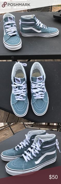 Vans Off the Wall high top sneakers NEVER BEFORE WORN. Muted blue Vans high top sneakers. Vans Shoes Sneakers