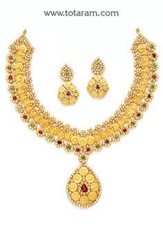 22K Gold 'Lakshmi Kasu' Necklace & Drop Earrings Set with Uncut Diamonds , Ruby & Emerald - DS670 - Indian Jewelry from Totaram Jewelers
