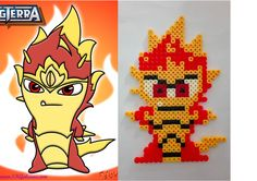 Hama Beads perles Hama slug Fire Elemental, slugterra Perler Beads, Image Pixel Art, 8th Birthday, Legos, Bowser, Paper Crafts, Kawaii, Natural Dyeing, Inspirer