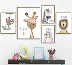 Inspirierende Zootiere Leinwand Wandkunst You are in the right place about baby room decor poster Here we offer you the most beautiful pictures about the … Nursery Canvas Art, Nursery Prints, Canvas Wall Art, Wall Art Prints, Baby Room Wall Art, Kid Wall Art, Bedroom Canvas, Room Baby, Mural Wall