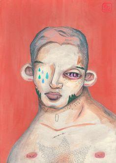 La cicatriz es mía, las lágrimas tuyas   Pintura de Bran Sólo   Flecha