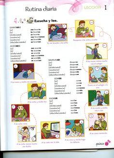 Los verbos de la rutina diaria, muy completo