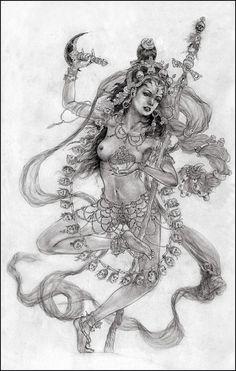 She is called Vajra Varahi, the Adamantine Sow Goddess She's one awesome Buddha! Kali Goddess, Indian Goddess, Mother Goddess, Goddess Art, Kali Tattoo, Kali Ma, Hindus, Geniale Tattoos, Thai Art