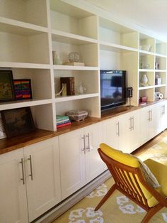 [ Built Ins Ikea Adel Cabinets Below Custom Shelving Top With Countertop ] - Best Free Home Design Idea & Inspiration Ikea Billy Bookcase Hack, Bookshelves Built In, Built Ins, Billy Bookcases, Office Wall Cabinets, Built In Cabinets, Kitchen Cabinets, Ikea Built In, Built In Desk