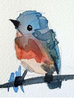Blue bird watercolor 400x700 via /r/Art...