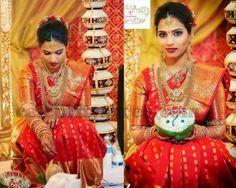 Saree Blouse Patterns: Gorgeous Telugu Bride in Traditional Kanchipuram saree yet a Trendy Saree