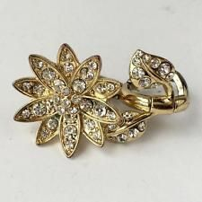 Gold plated 2 in one flower with leaves shape ring with white rhines... Lot 211