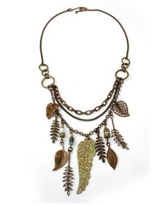 I might arrange a bit differently, but I like a variety of leaves used in combination to make a necklace like this  ********************************************   Vintaj - #jewelry #crafts #necklace