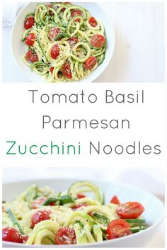 Zucchini Noodles with Tomato, Basil and Parmesan via @marisamoore